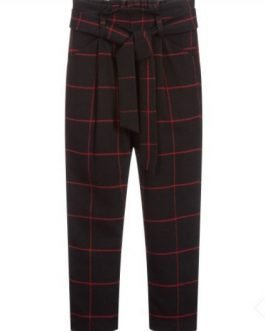iDO Black and Red Check Wool Trousers