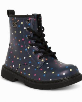 Tuc Tuc HOOP Girls Navy Multicoloured Dot Boots with Zip