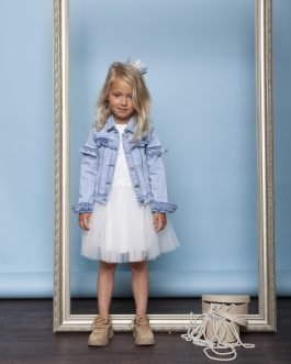 Le Chic Denim Jacket with Ruffle and Pearls