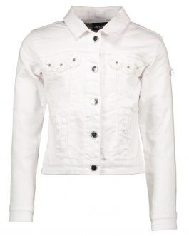 Le Chic White Denim Jacket with Voile Flowers