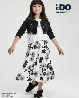 iDO Older Girl Black and White Floral Pleated Skirt