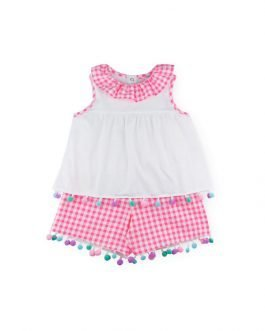 Sardon Baby Girl Pink Gingham Shorts Two Piece Set with Pom Poms