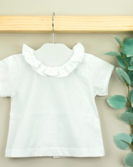 Babidu Baby Girl White Top with Frilled Neck