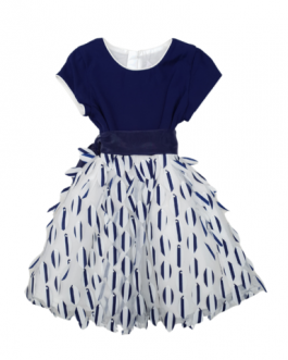 Alice Pi Older Girls Navy Dress with Feather Effect