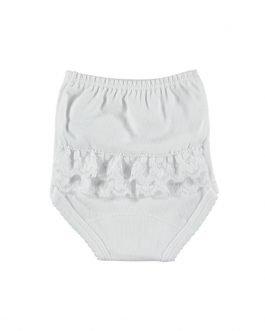 Babidu Baby Girl Soft Cotton White Ruffle Pants