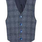 1880 Club Boys Navy Blue Check Waistcoat