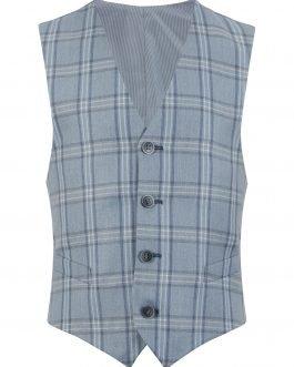 1880 Club Boys Baby Blue Check Waistcoat
