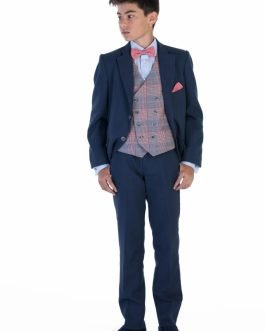 One Varone Boys 3 Piece Navy Suit with Red Check Elbow Patch