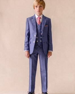 One Varone Boys Azure Blue and White Micro Dot 3 Piece Blue Suit