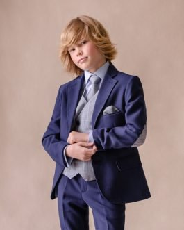 One Varone Boys 3 Piece Navy Suit with Blue Check Elbow Patch