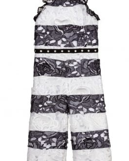 Guess Girls Black & White Lace Jumpsuit