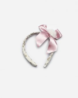 Juliana Pink Floral Hairband with a Large Satin Bow