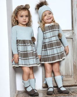 Julian Baby Girl Duck Egg Blue and Taupe Check Dress Set